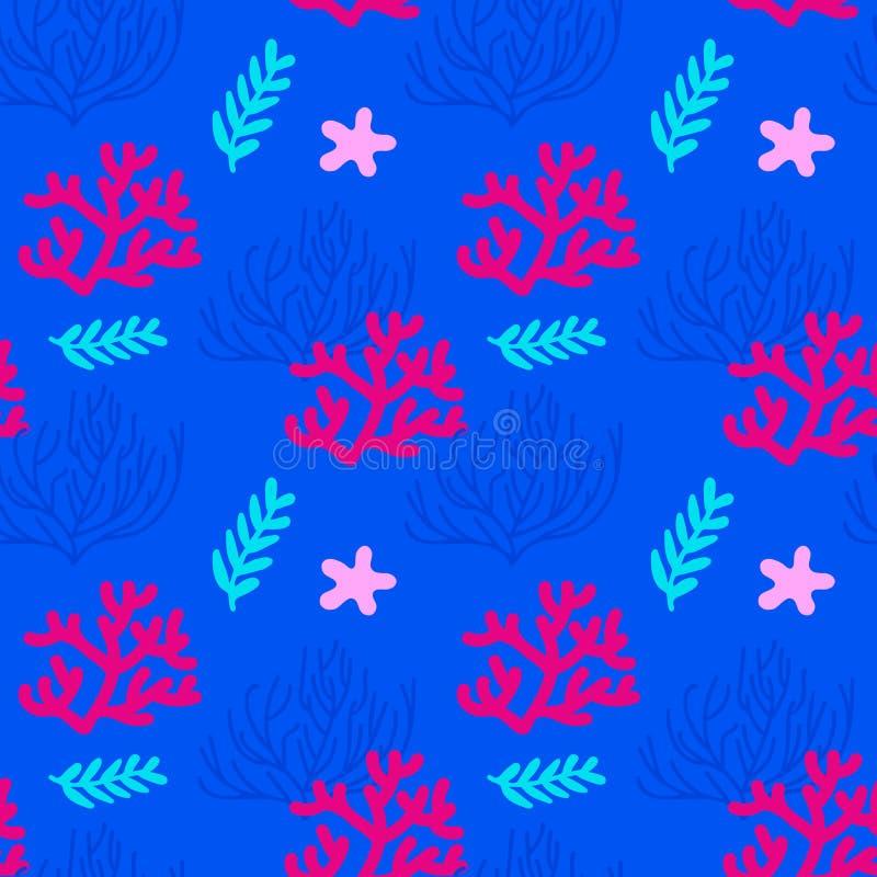 与珊瑚和海草的海无缝的样式 蓝色,桃红色,红色背景 皇族释放例证