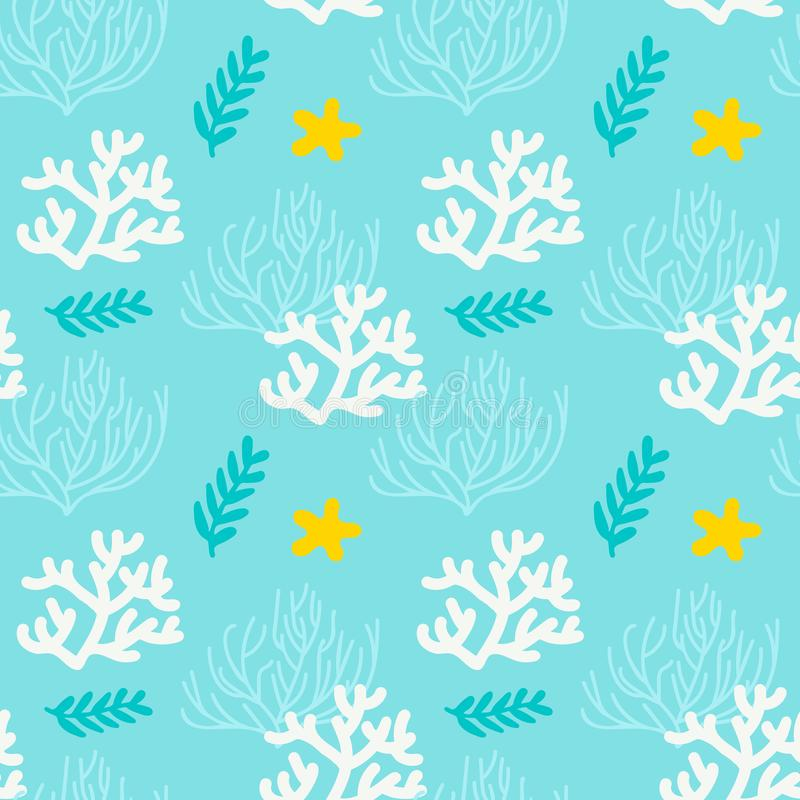 与珊瑚和海草的海无缝的样式 蓝色,白色,黄色背景 向量例证