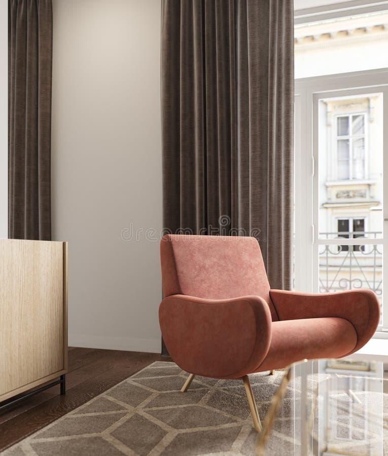 与珊瑚扶手椅子、帷幕、地毯和窗口的斯堪的纳维亚内部 库存例证