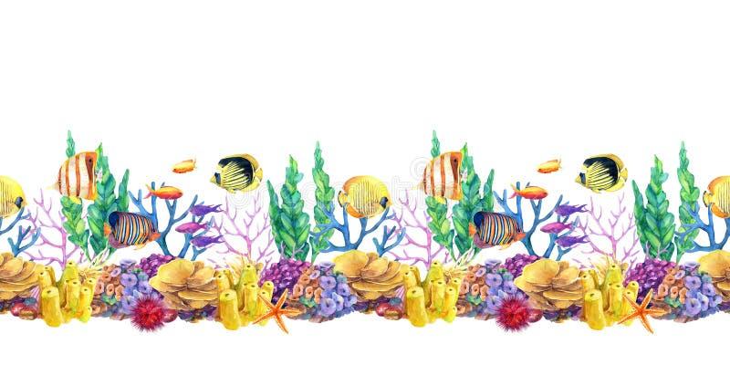 与珊瑚礁和鱼的水下的无缝的重复边界 向量例证