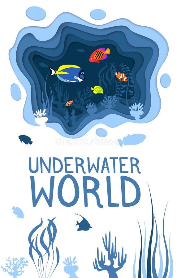 与珊瑚礁鱼的水下的世界设计 向量例证