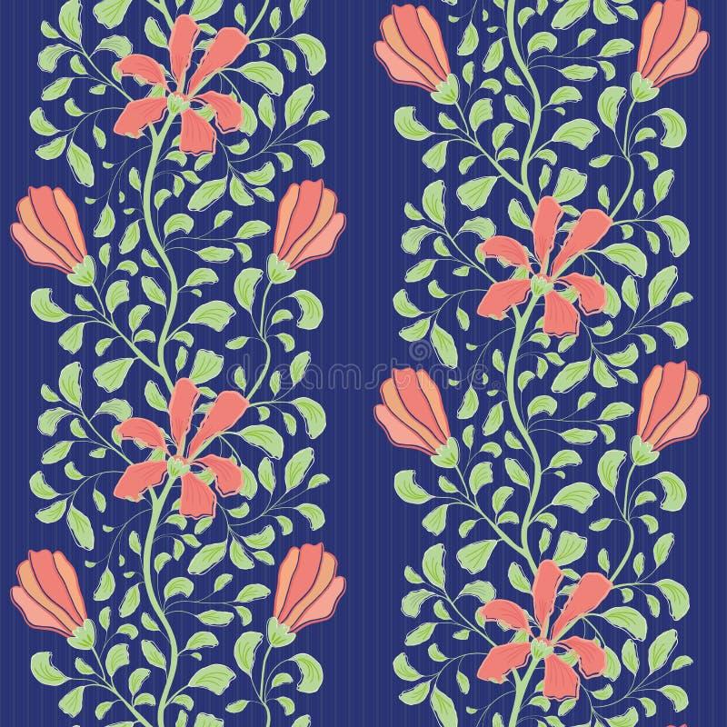 与珊瑚花和绿色叶子的美好的印度花卉半下落设计 在镶边蓝色的无缝的传染媒介样式 库存例证