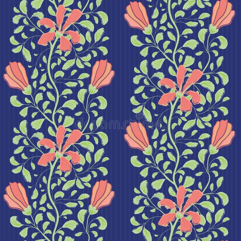 与珊瑚花和绿色叶子的美好的印度花卉半下落设计 在镶边蓝色的无缝的传染媒介样式 皇族释放例证