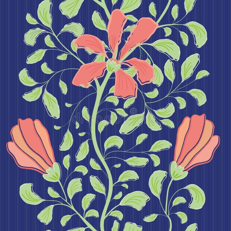 与珊瑚花和绿色叶子的美好的印度花卉样式设计 在镶边的无缝的几何传染媒介样式 皇族释放例证
