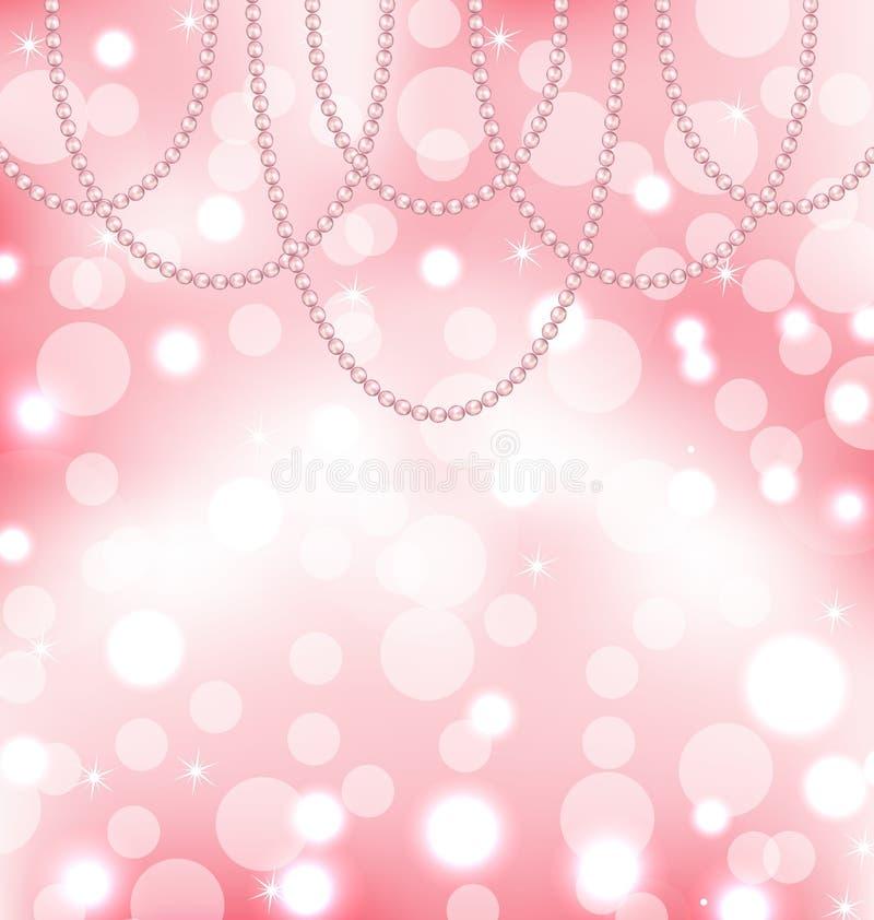 与珍珠的逗人喜爱的桃红色背景 皇族释放例证