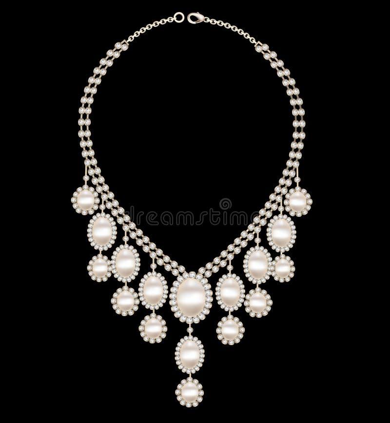 与珍珠的女性项链婚礼在黑背景 库存例证