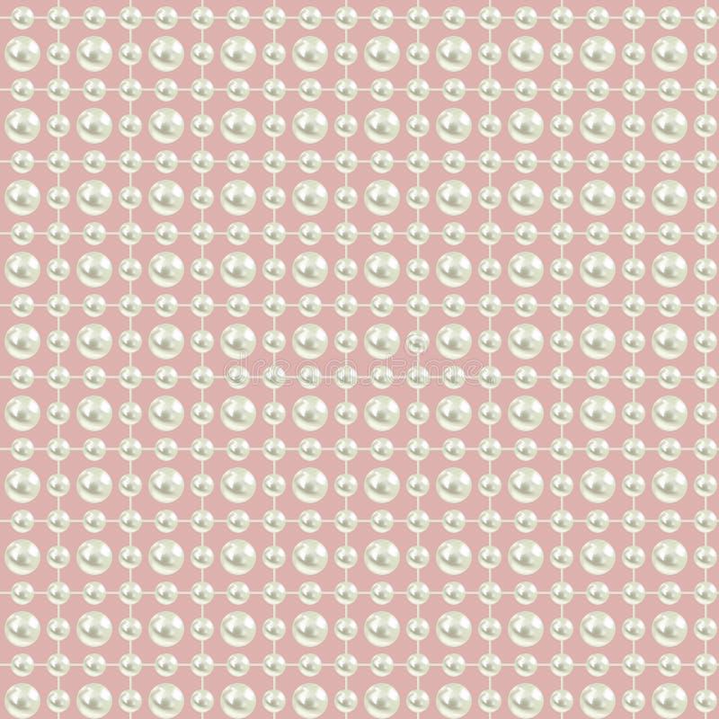 与珍珠的无缝的背景在桃红色 向量例证