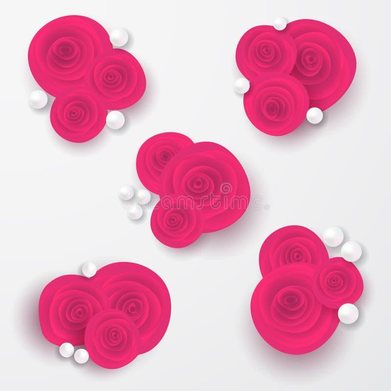 与珍珠的桃红色玫瑰成串珠状在白色背景的构成 重点查出的符号白色 浪漫背景 St华伦泰` s天, 8 m 库存例证