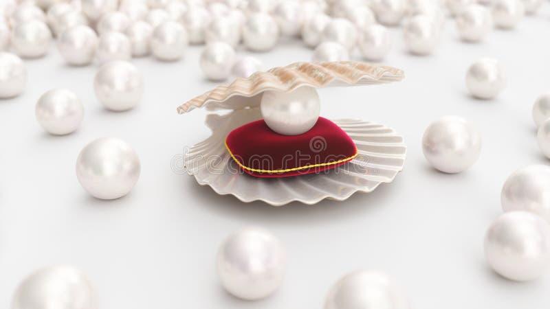 与珍珠的海壳在有金冲程的一个软的红色天鹅绒枕头 美丽的珍珠,妇女的昂贵的首饰 向量例证