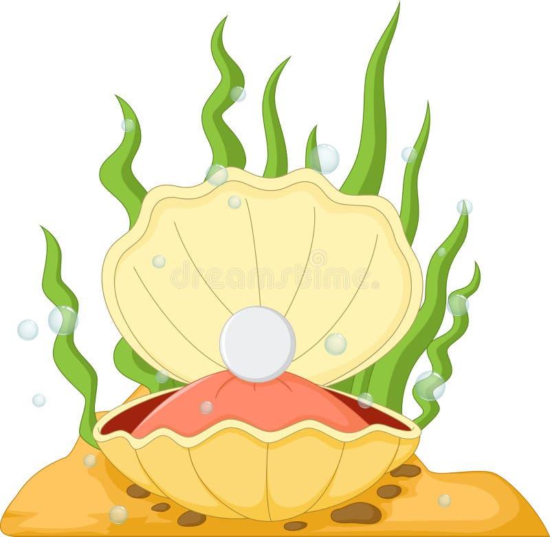 与珍珠的牡蛎 向量例证