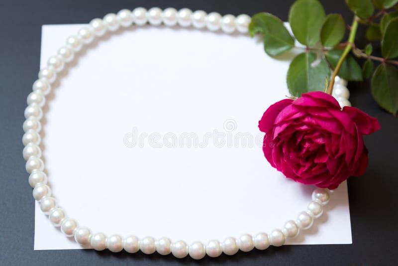 与珍珠的美丽的红色玫瑰在空白的白色板料纸 库存图片