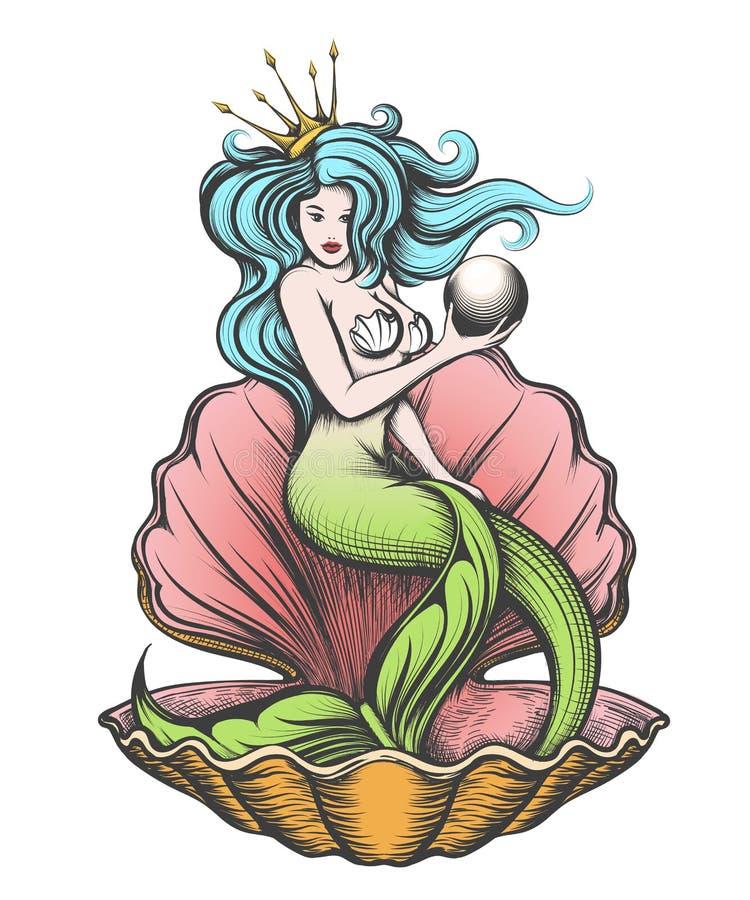 与珍珠的美人鱼在她的手上 皇族释放例证