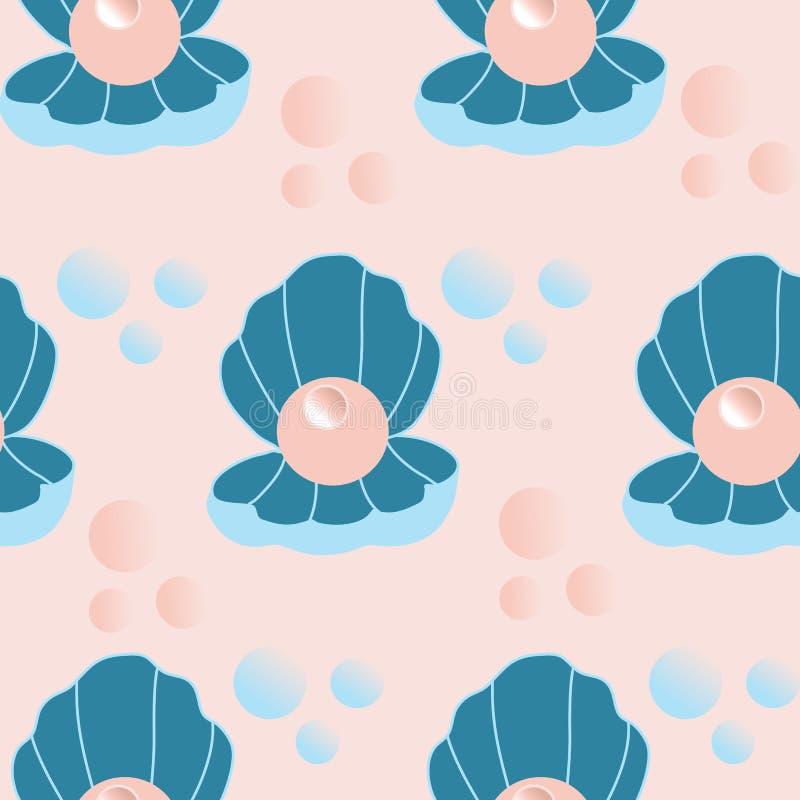 与珍珠的逗人喜爱的壳在一个无缝的样式设计 向量例证