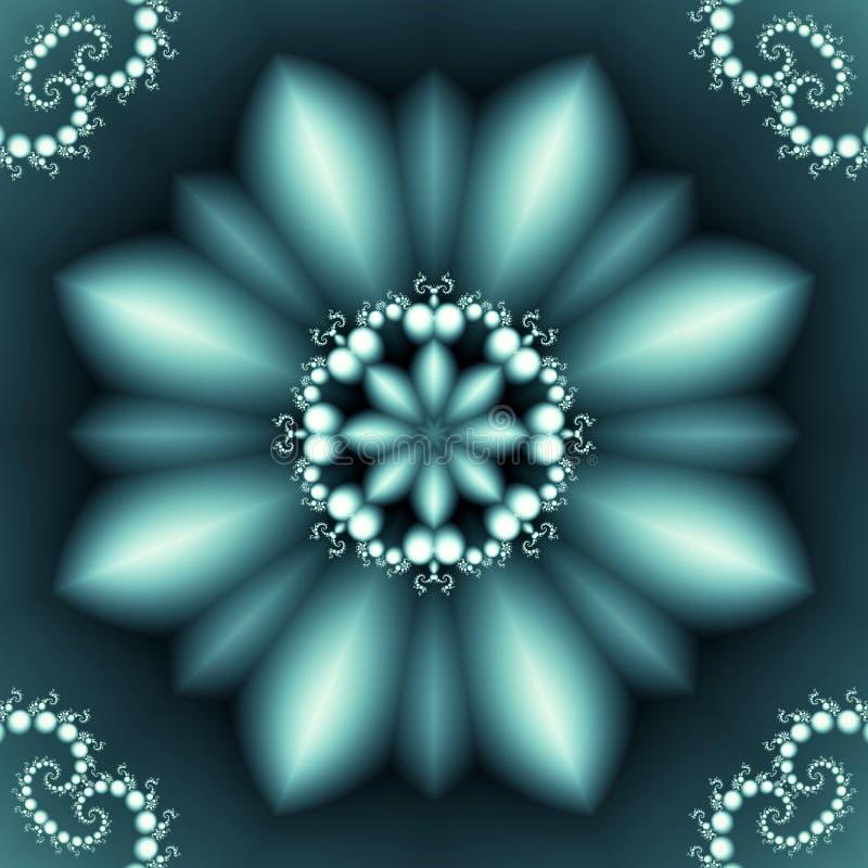 与珍珠螺旋装饰品的抽象花卉样式 免版税图库摄影
