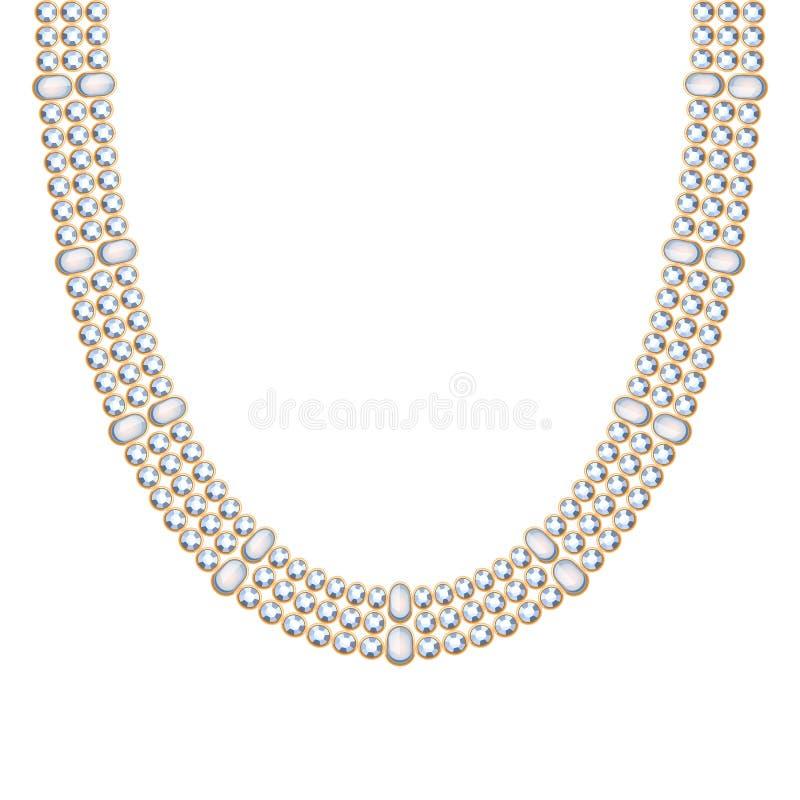 与珍珠项链或镯子的大块的链子 向量例证
