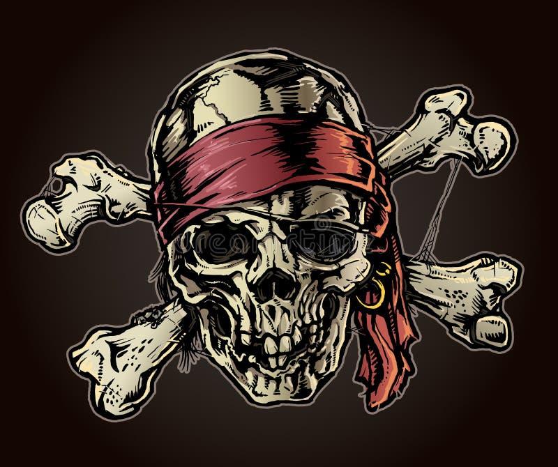 有班丹纳花绸的海盗头骨 向量例证