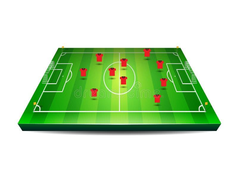 与球员的足球或橄榄球场 皇族释放例证