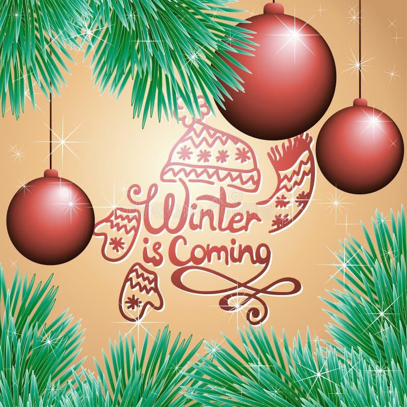 与球和圣诞树的假日卡片 皇族释放例证
