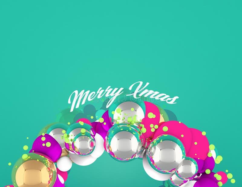 与球形和在底层绿色背景,快活的xmas的圣诞节花圈 库存照片