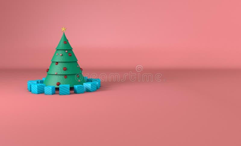 与球形和桃红色背景的圣诞树 免版税库存图片