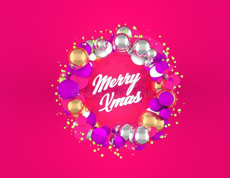 与球形和桃红色背景的圣诞节花圈 免版税库存图片