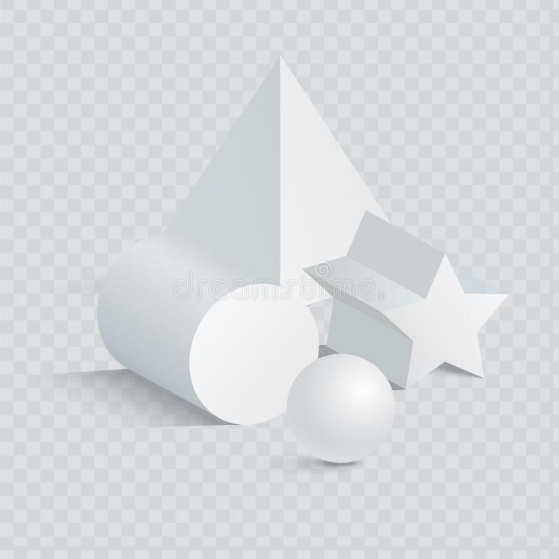 与球形3D的三角和Pentagrammic棱镜 向量例证