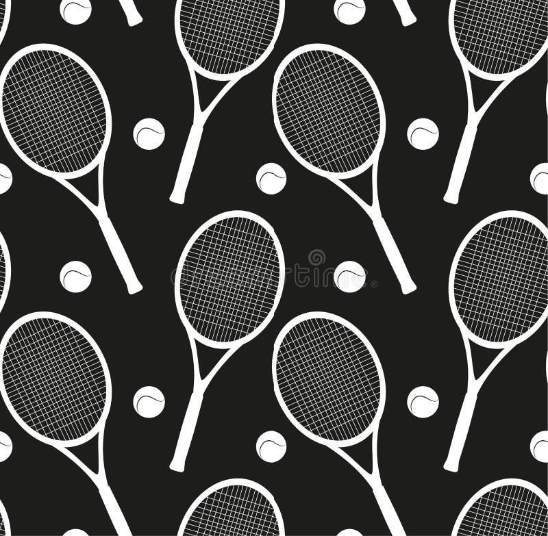 与球拍剪影和一个球的无缝的纹理网球的 皇族释放例证