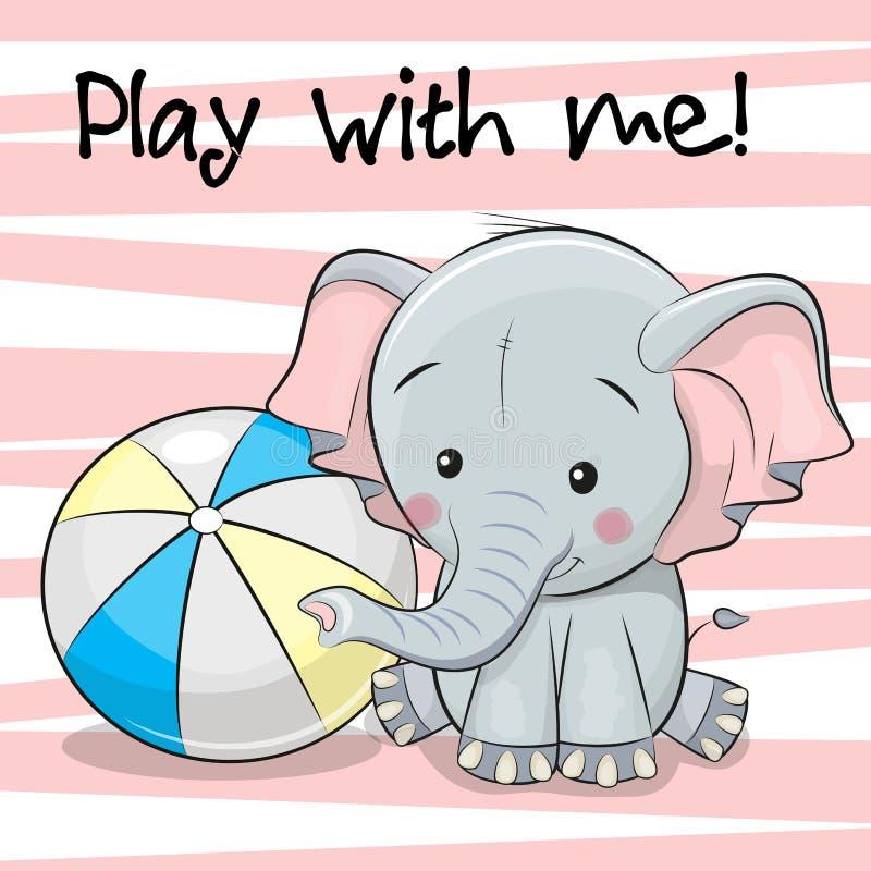 与球的逗人喜爱的大象 向量例证