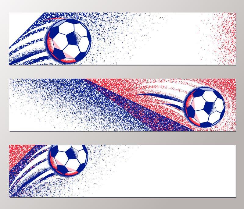 与球,领域法国旗子颜色的橄榄球冠军2016水平的横幅 坎坷纹理 皇族释放例证