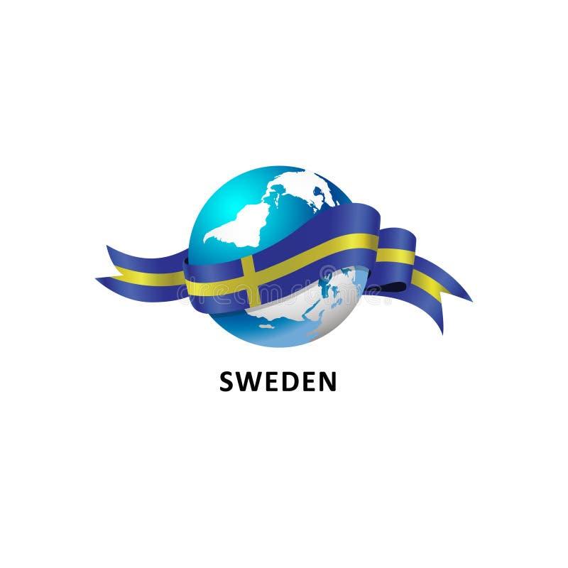 与瑞典旗子的世界 库存图片