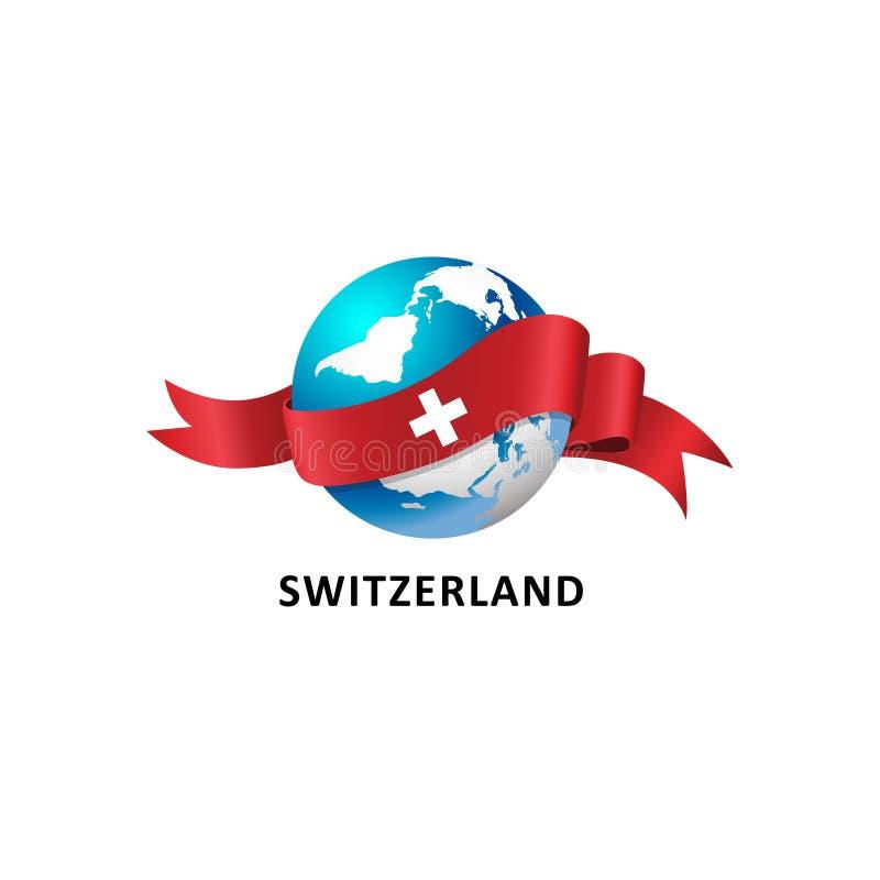 与瑞士旗子的世界 图库摄影