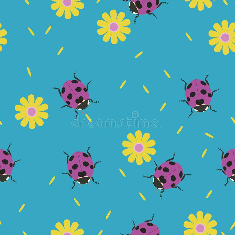 与瓢虫和花的无缝的样式 o 向量例证