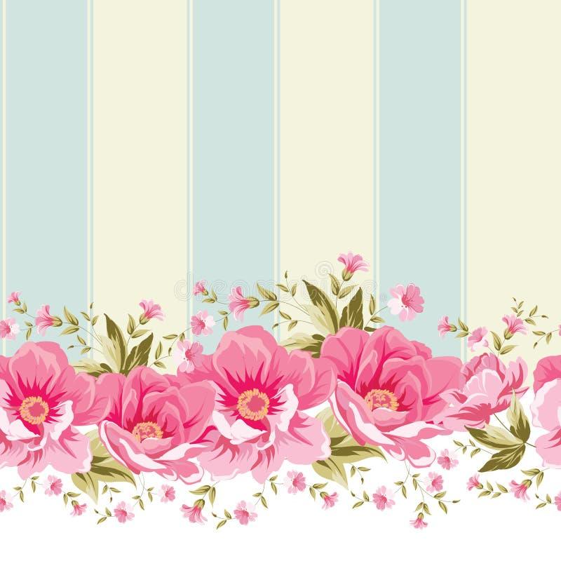 与瓦片的华丽桃红色花边界 免版税库存照片