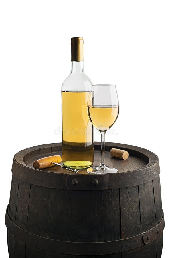 与瓶和玻璃的酒背景 免版税库存图片