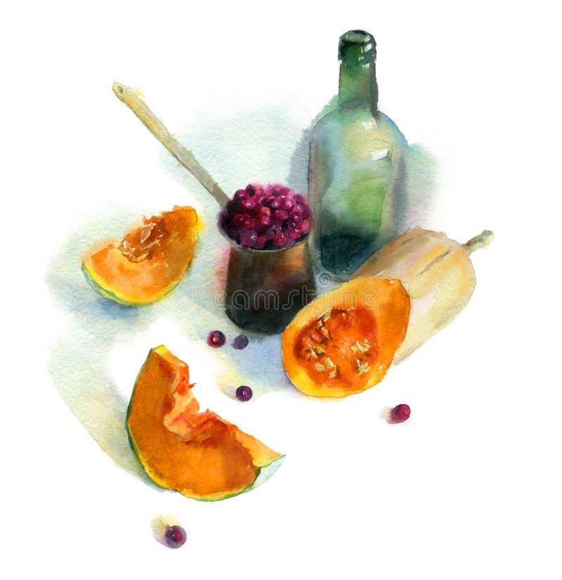 与瓶和菜的水彩剪影 库存例证
