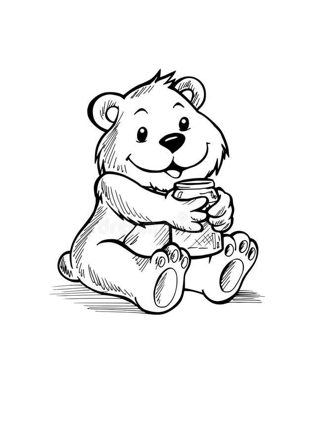 与瓶子的玩具熊 库存例证