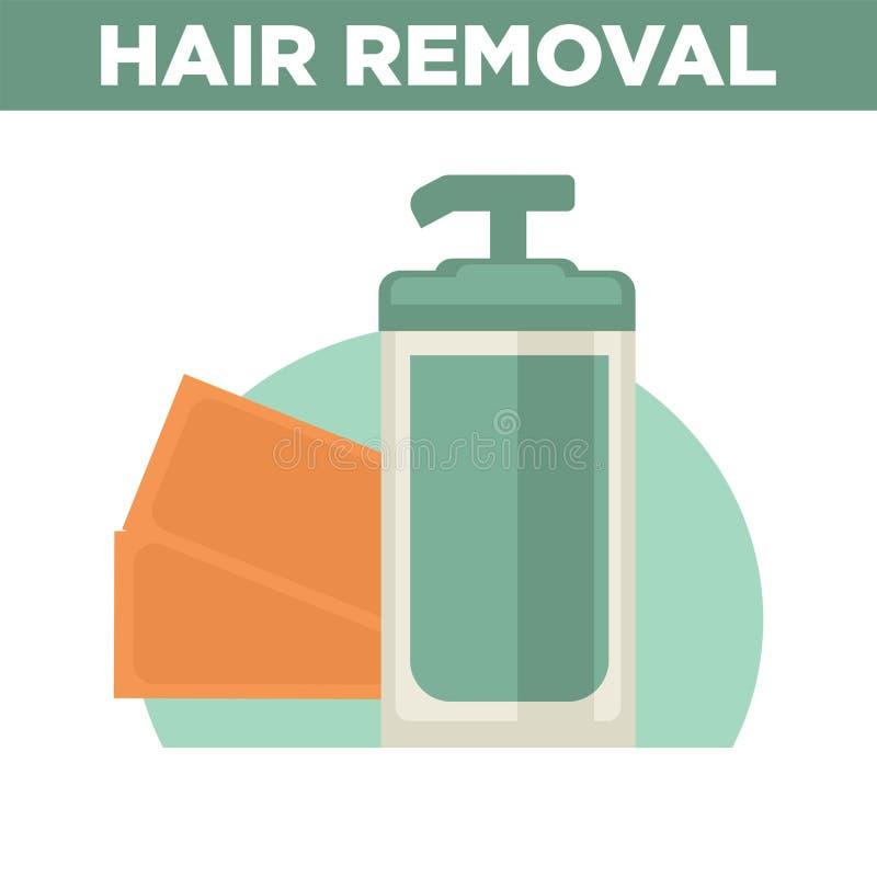 与瓶的头发撤除增进海报去膜剂 库存例证