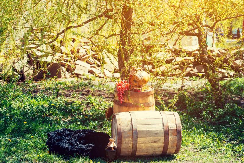 与瓶的老木葡萄酒桶酒和葡萄对此 库存图片