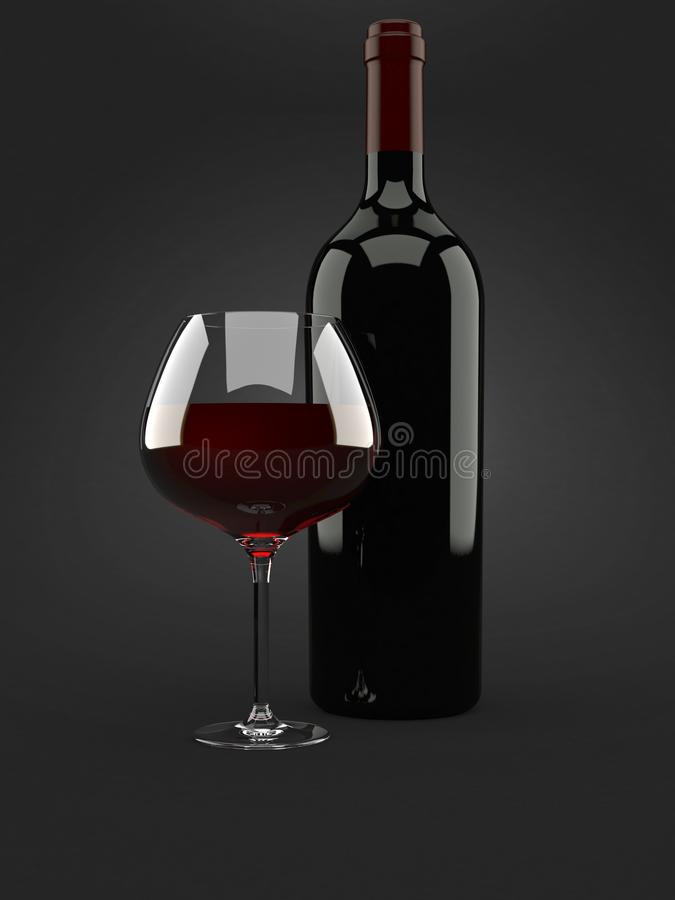 与瓶的酒杯 向量例证