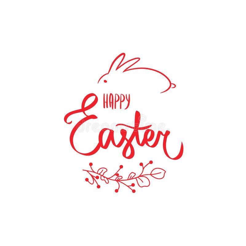 与甜复活节快乐的红色花卡片在与逗人喜爱的兔宝宝的红色签字 花红色边界,红色兔子 向量例证