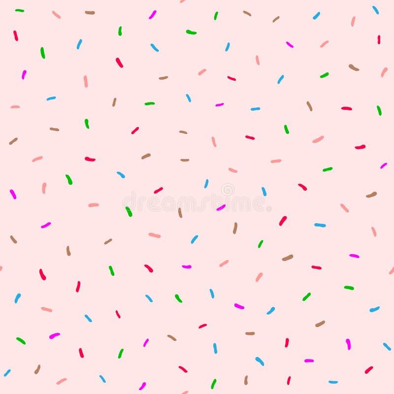 与甜多福饼釉的逗人喜爱的无缝的样式 桃红色,棕色,蓝色,紫色,绿色 皇族释放例证