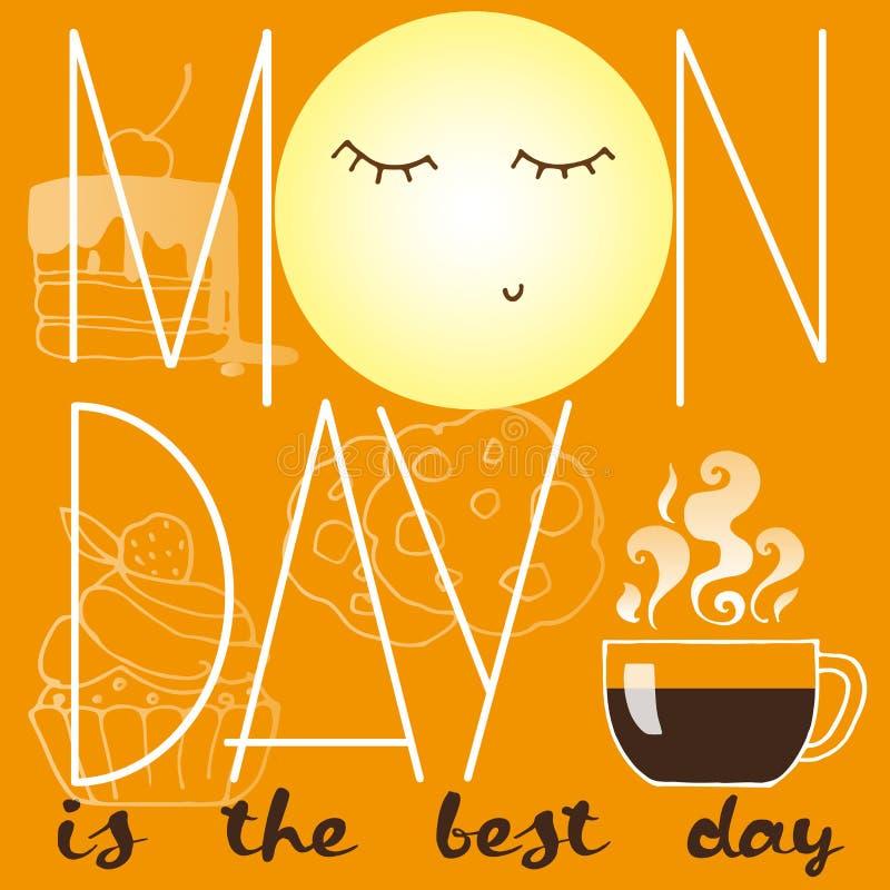 与甜点、咖啡、月亮和题字星期一的海报是最佳的天 库存例证