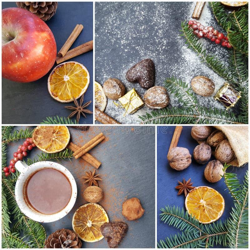 与甜点、香料和装饰照片的圣诞节拼贴画  免版税库存图片