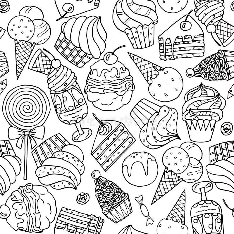与甜点和冰淇凌的无缝的样式 向量例证
