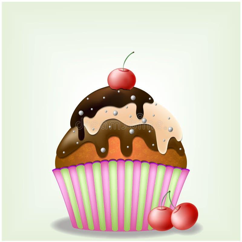 与甜点和樱桃莓果EPS 10传染媒介的可口三巧克力乳脂状的Yammy杯形蛋糕 免版税图库摄影