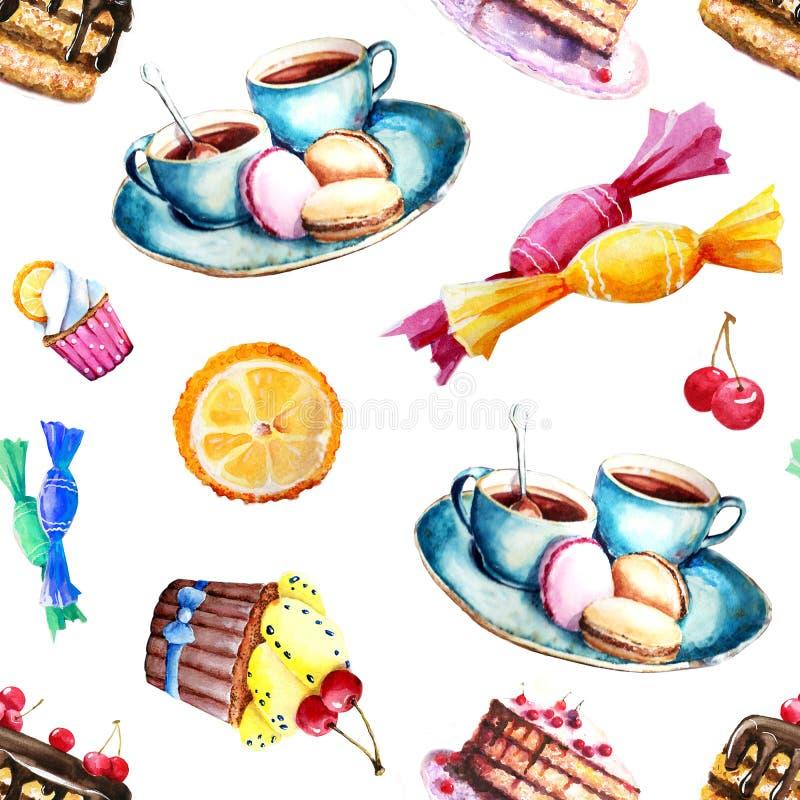 与甜点的图象-蛋糕,糖果,蛋糕,茶的无缝的样式 印刷品,背景,墙纸设计的元素, 向量例证