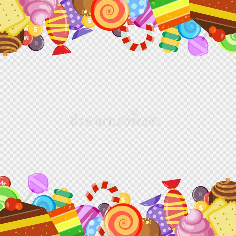 与甜点的抽象框架 五颜六色的焦糖和巧克力糖饼干和蛋糕棒棒糖美好和水多的传染媒介 皇族释放例证