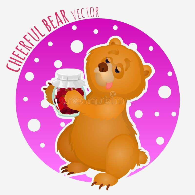 与甜瓶子的爱吃甜品的胃口熊果酱 向量例证