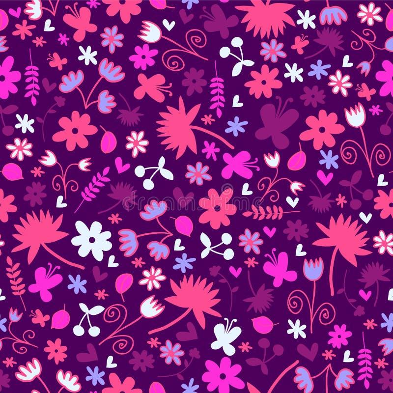 与甜花卉元素的无缝的样式 向量例证