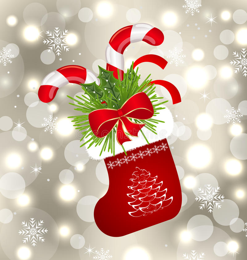 与甜藤茎的圣诞节袜子 皇族释放例证